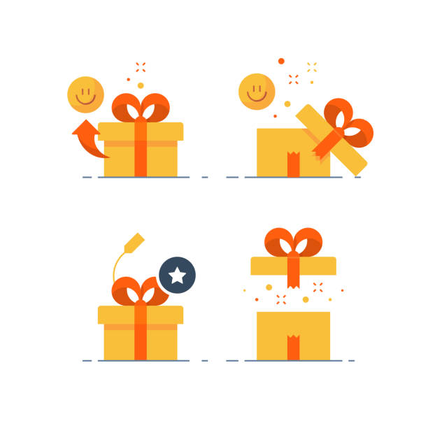 ilustrações de stock, clip art, desenhos animados e ícones de prize give away, surprising gift, emotional present, fun experience, gift idea concept, flat icon - surpresa