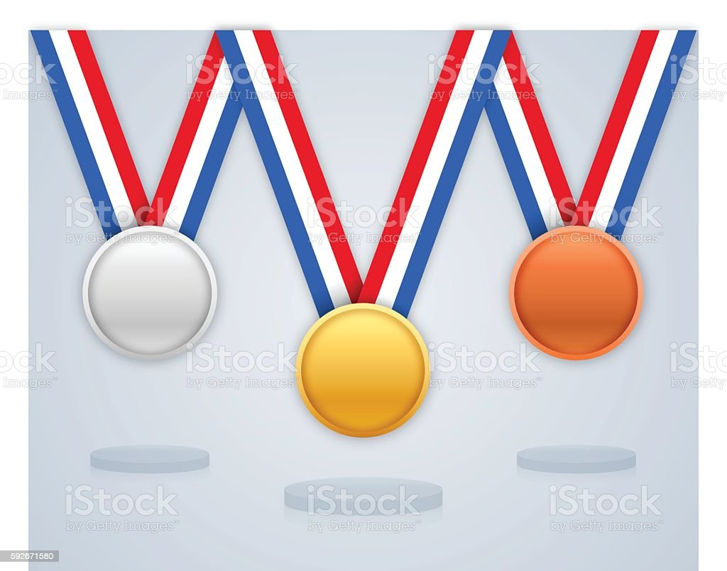 Prize Medals and Awards Gold Silver and Bronze vector art illustration