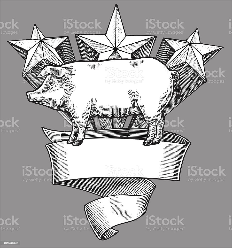 Prize Pig Banner Award with Stars Barbecue Background royalty-free stock vector art