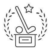 Prize to golf winner thin line icon, sports and competition concept, trophy with stick and golfball sign on white background, award with golf putter and ball icon outline style. Vector graphics