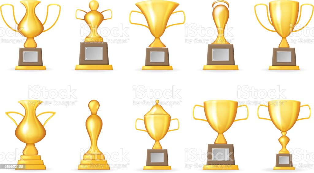 prize victory award realistic 3d symbol trophy cup icons set