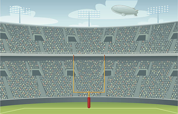 Pro Football Stadium Background - Day Version Vector illustration of a professional football arena with  stadium lights, crowd, blimp and goalposts. Stadium, field, blimp and sky are all on separate layers. stadium stock illustrations
