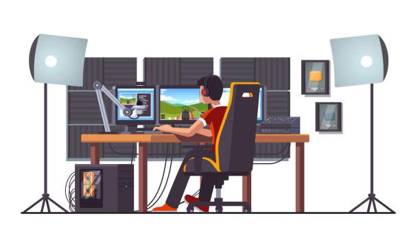 プロのゲーマー ライブストリーミング ゲーム デスクトップ ホーム スタジオ内部でのゲームの椅子に座って演奏します。プロのストリーマーのストリーミング セットアップ ・機器。デスク - ゲーム ヘッドフォン点のイラスト素材/クリップアート素材/マンガ素材/アイコン素材