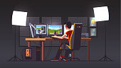 Cyber sport pro gamer live streaming game match sitting at professional studio with pc desk setup, gaming chair, mic, spotlights & webcam. Cyber sport streamer at night. Flat vector interior illustration