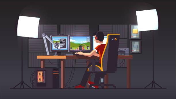 プロのゲーマー ライブストリーミング ゲーム デスクトップ ホーム スタジオ内部でのゲームの椅子に座って演奏します。プロのストリーマーのストリーミングのセットアップ。デスクトッ� - ゲーム ヘッドフォン点のイラスト素材/クリップアート素材/マンガ素材/アイコン素材