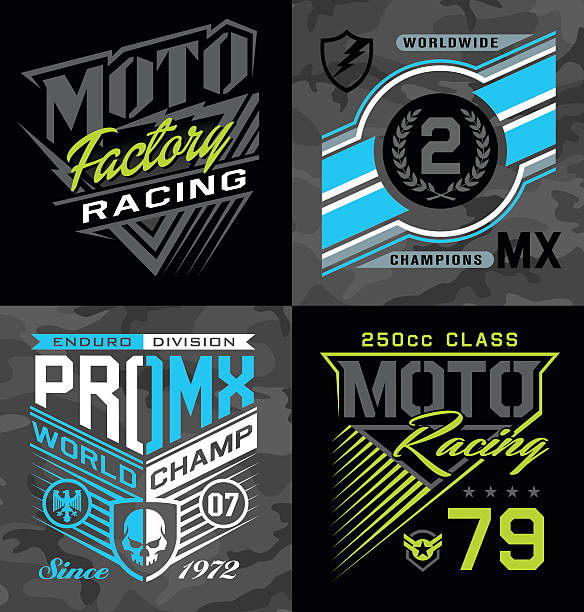 illustrations, cliparts, dessins animés et icônes de pro motocross courses de l'emblème ensemble graphique - moto sport