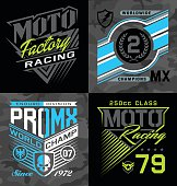 Pro motocross racing emblem graphic set