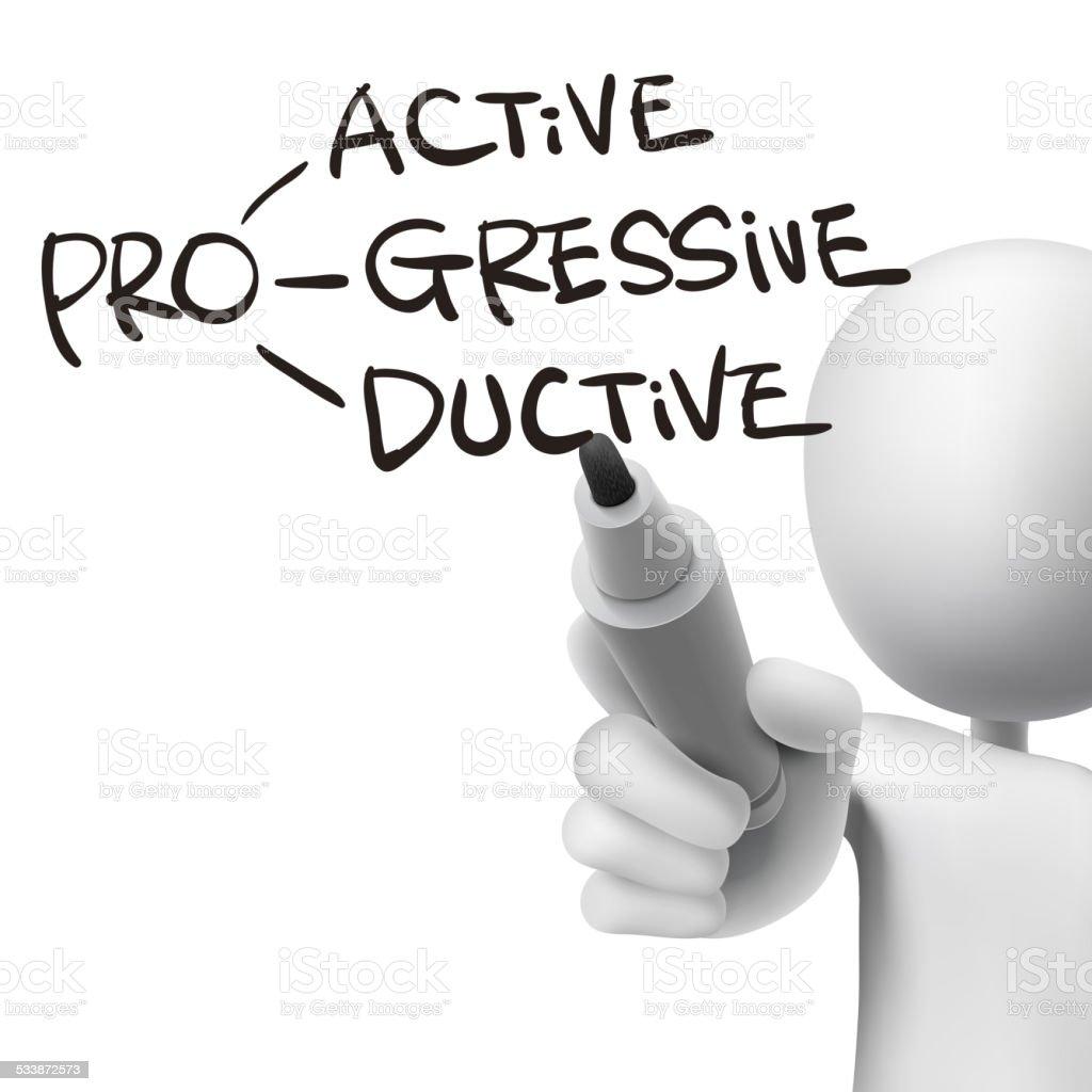 proactive, progressive and productive written by 3d man vector art illustration