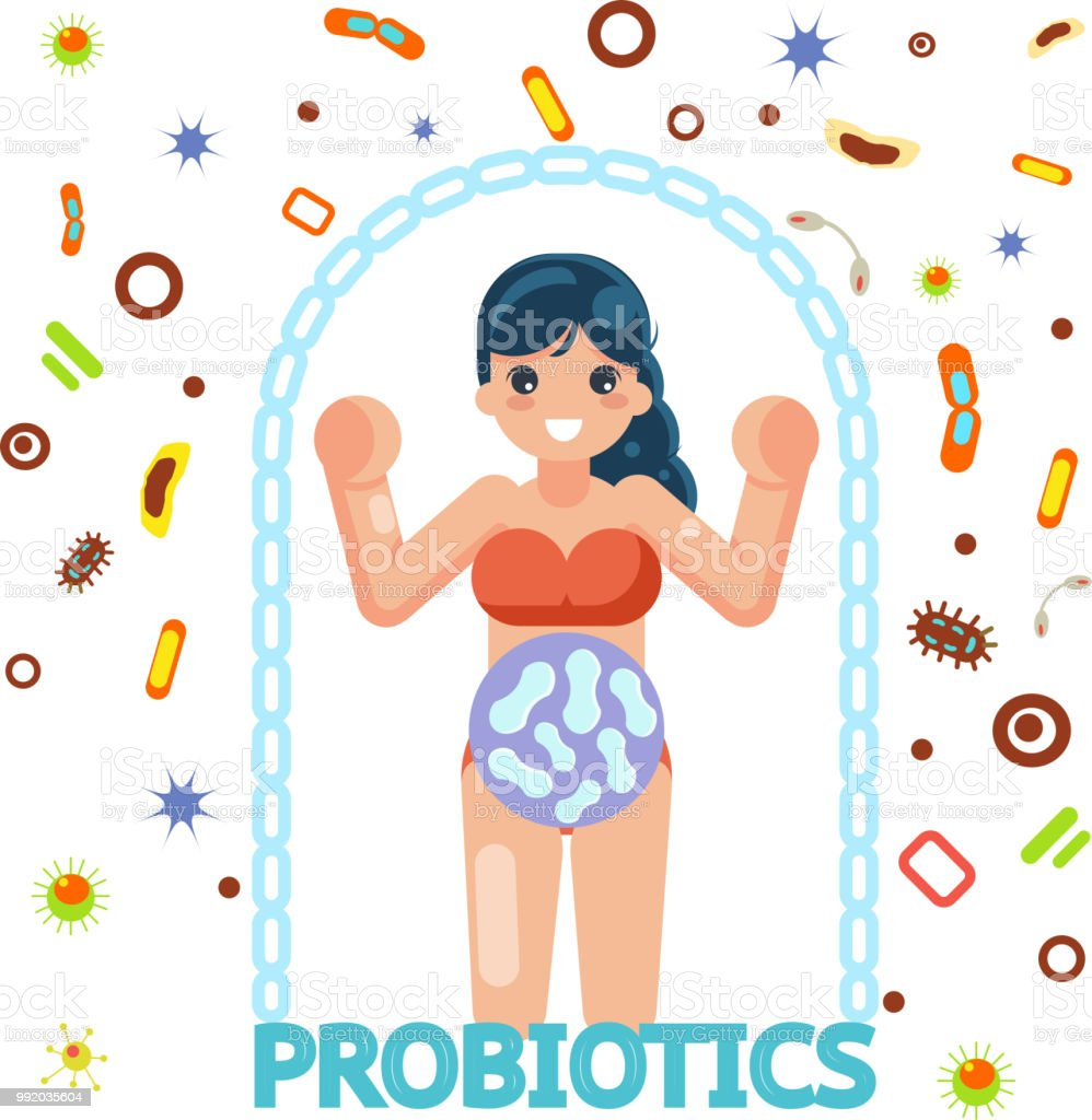 probiotic female health protection medicine flat design vector illustration vector art illustration