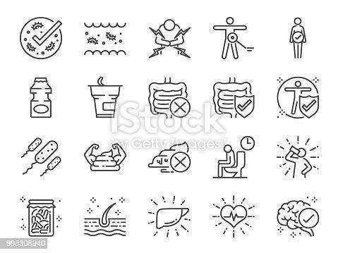 Probiotics set. Included icons as intestinal flora, intestinal, bacteria, healthy, yogurt, intestine and more.