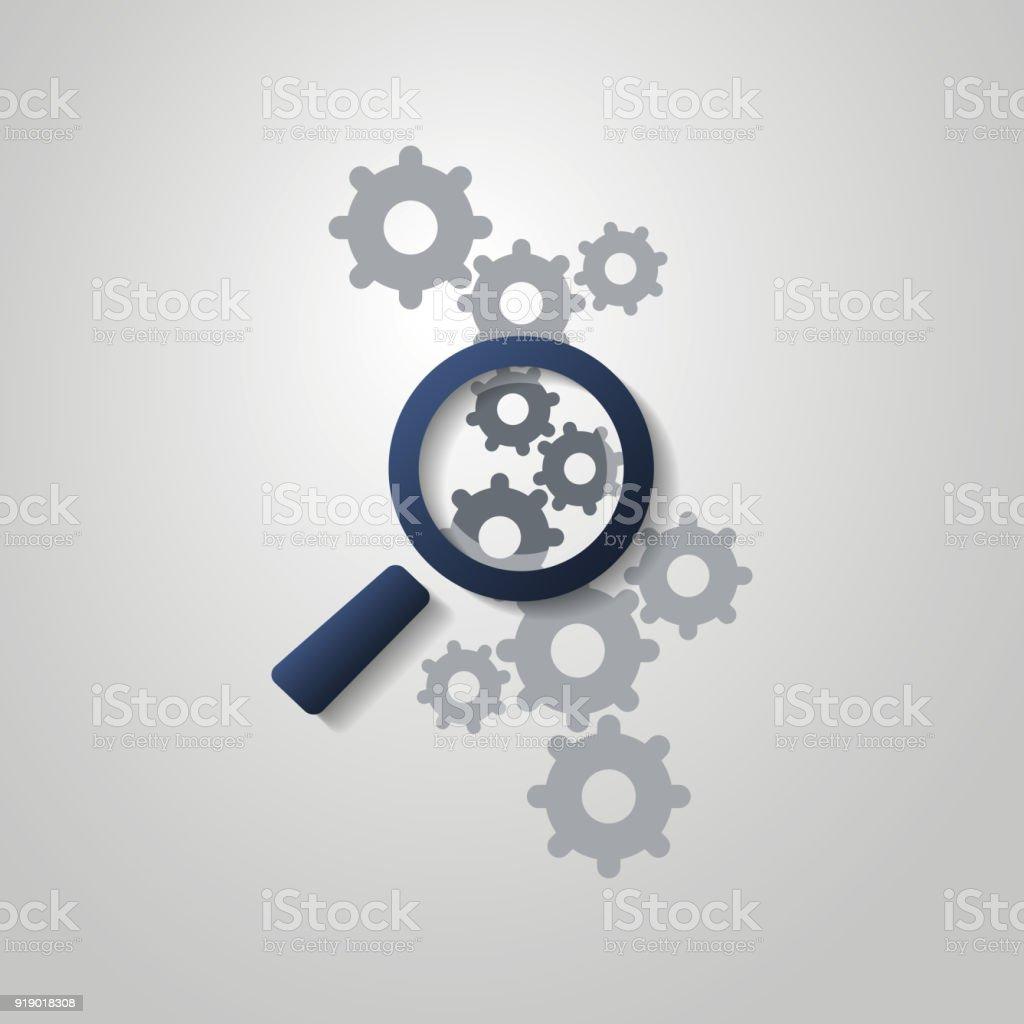 Problemanalyse oder Bugfix-Konzept - Symbol mit Lupe Glas und Zahnräder – Vektorgrafik