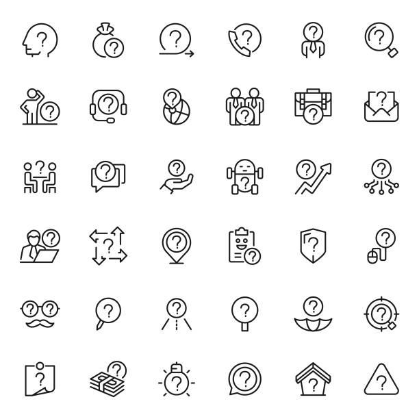 stockillustraties, clipart, cartoons en iconen met probleem pictogram instellen - verwarring