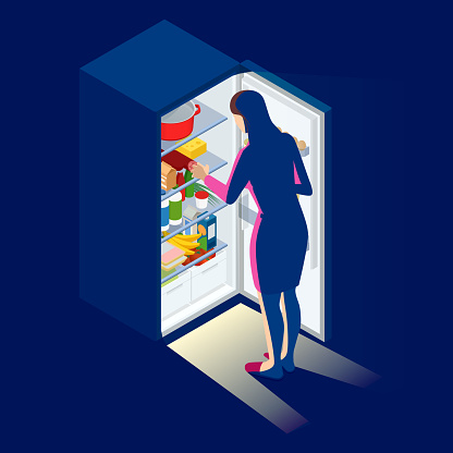 Problem of excess weight and health. Woman by the open refrigerator at night. Isometric young woman looking at fridge.