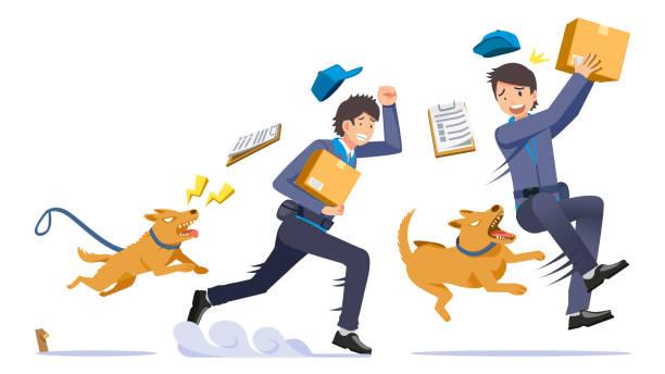 problem von haustieren in den häusern beißen fremden irgendwann. - arbeitshunde stock-grafiken, -clipart, -cartoons und -symbole