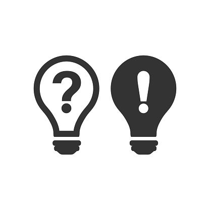 Problem Solution Icon In Flat Style Light Bulb Idea Vector ...