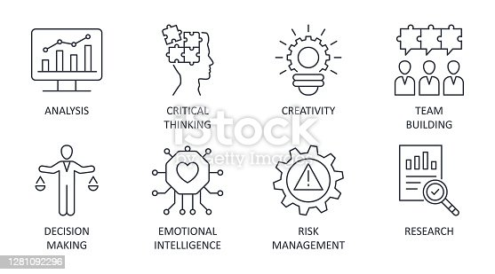 Problem solving icons editable stroke. Creativity analysis research critical thinking. Team building emotional intelligence risk management decision making. Vector stock illustration on white backgr