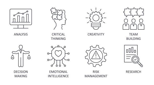 rozwiązywanie problemów ikony edytowalne obrysu. analiza kreatywności bada krytyczne myślenie. zespół budując inteligencję emocjonalną podejmowania decyzji dotyczących zarządzania ryzykiem. wektorowa ilustracja na białym obrocie - menadżer stock illustrations