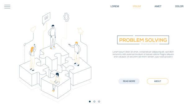 Problemlösung-Liniendesign isometrisches Web-Banner – Vektorgrafik
