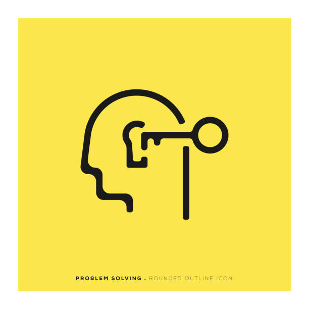 Problem Solving Rounded Line Icon Problem Solving Rounded Line Icon keyhole stock illustrations