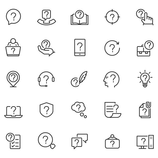 stockillustraties, clipart, cartoons en iconen met probleem vector icon set - question