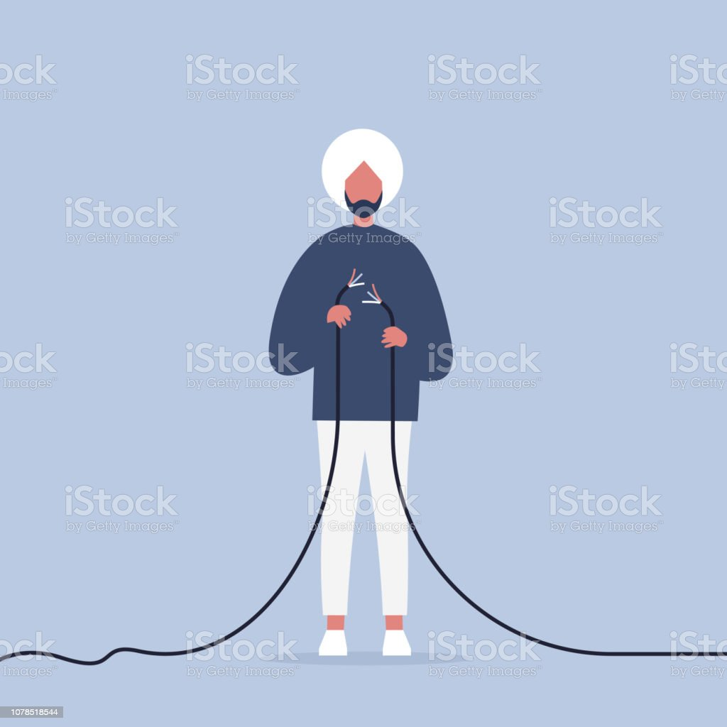 Problems in communication. Young indian character trying to fix the torn wire / flat editable illustration, clip art vector art illustration