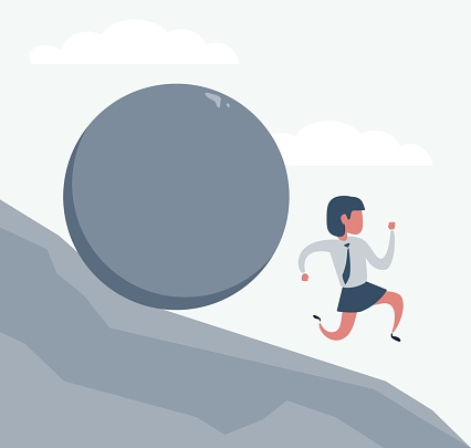 Problems Of Business - businesswoman running from a rolling stone