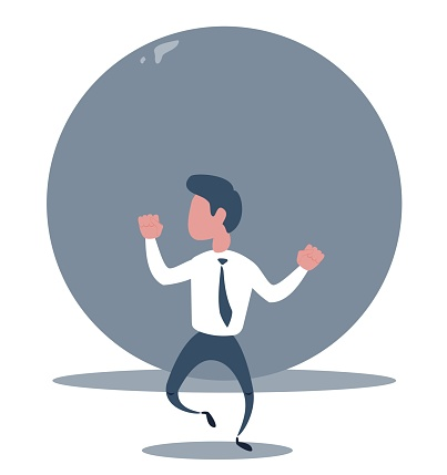 Problems Of Businessman - businessman a man runs from a rolling stone at him