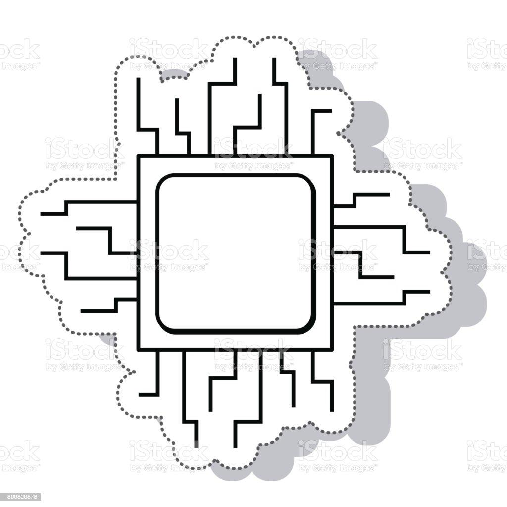 Circuito Y : Ilustración de procesadora icono aislado eléctrico de circuito y