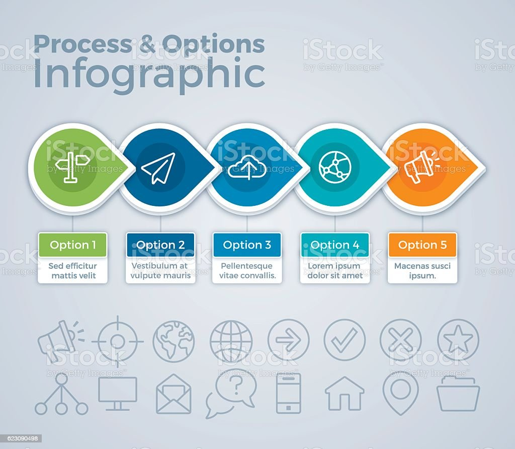 Process and Options Infographic vector art illustration