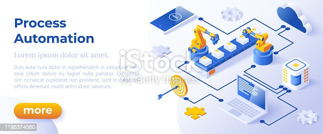 istock Process Automation - Banner Layout Template for Website and Mobile Website Development. 1195374580