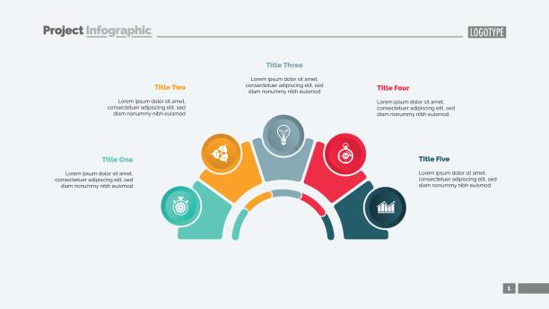 Process Chart with Five Elements Slide Process chart with five elements. Step diagram, pie chart, layout. Creative concept for infographics, presentation, project, report. Can be used for topics like strategy, planning. arch stock illustrations