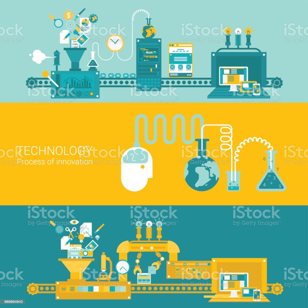 Process factory technology plant concept flat icons and vector web banners illustration print materials website click infographics elements collection. process factory technology plant concept flat icons and vector web banners illustration print materials website click infographics elements collection - arte vetorial de stock e mais imagens de abstrato royalty-free