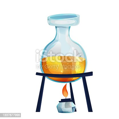 istock Process glass flask with burner, chemistry research in cartoon style isolated on white background. Alchemy, study lab equipment. . Vector illustration 1337877995