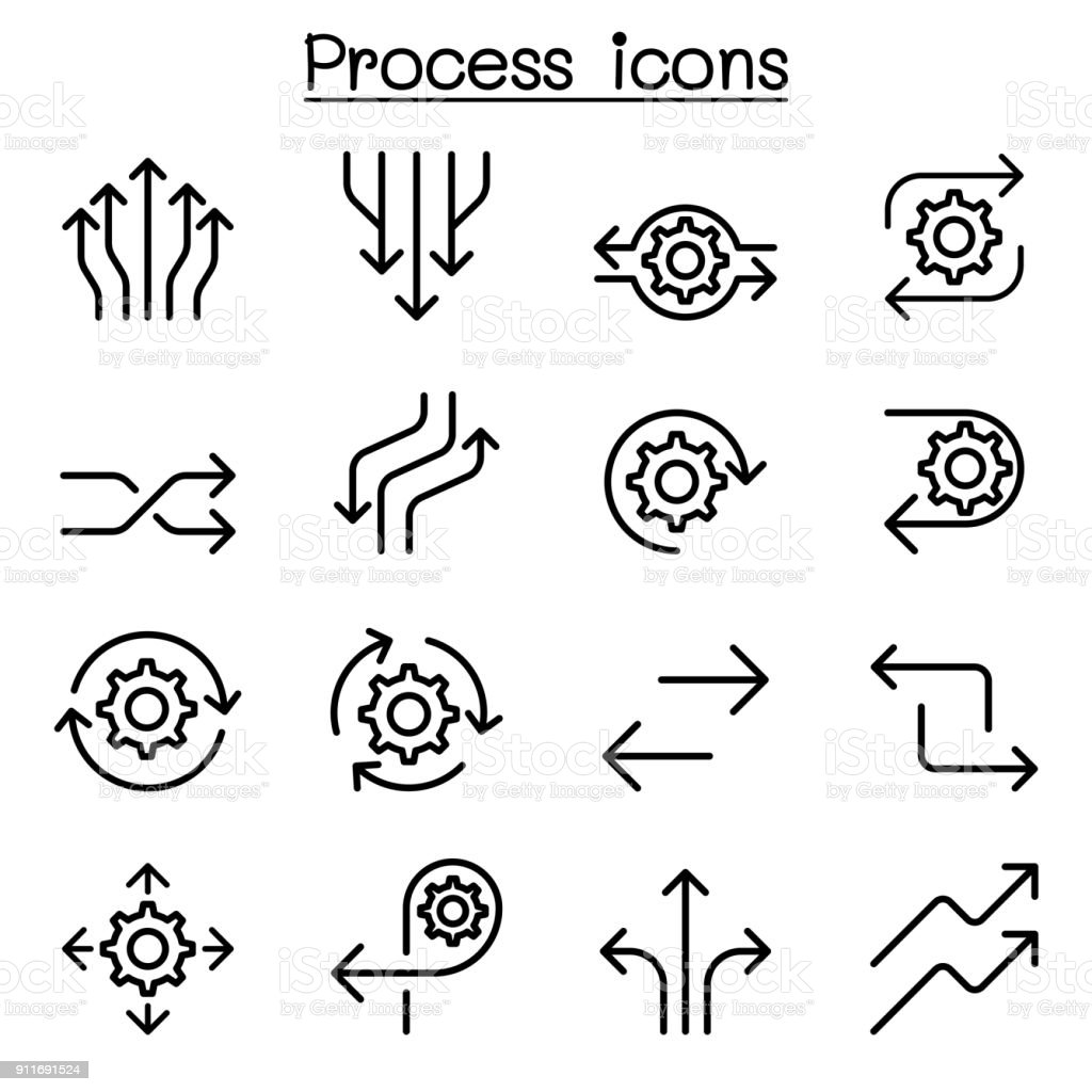 Process icon set in thin line style vector art illustration