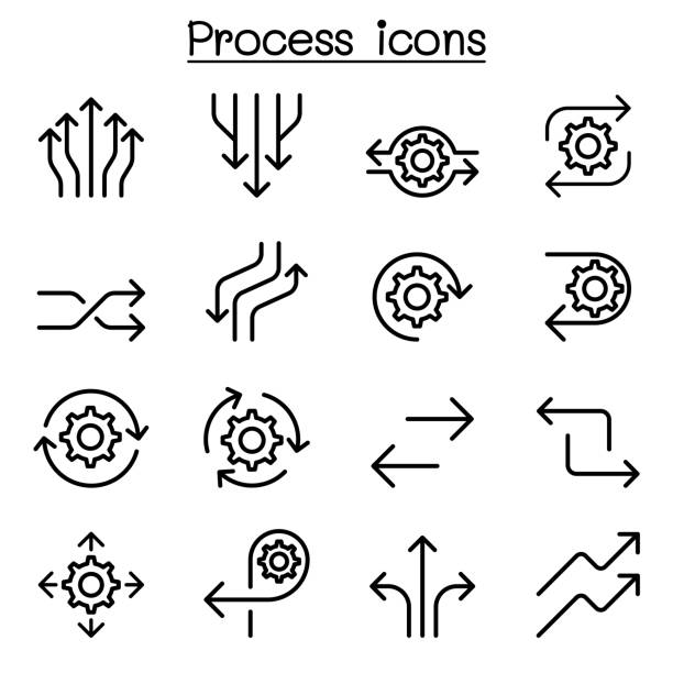 Process icon set in thin line style Process icon set in thin line style transformation stock illustrations