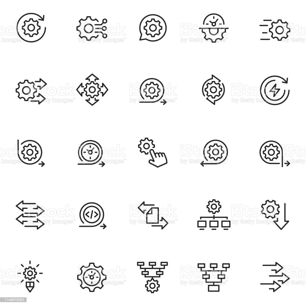 Process icon set - Royalty-free Analisar arte vetorial
