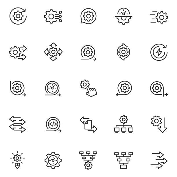 Process icon set Process icon set apparatus stock illustrations