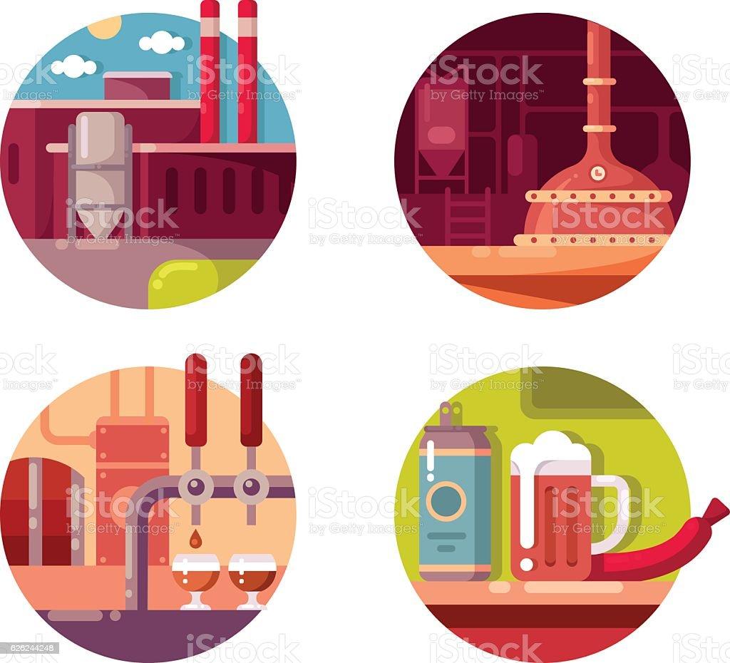Process of brewing vector art illustration