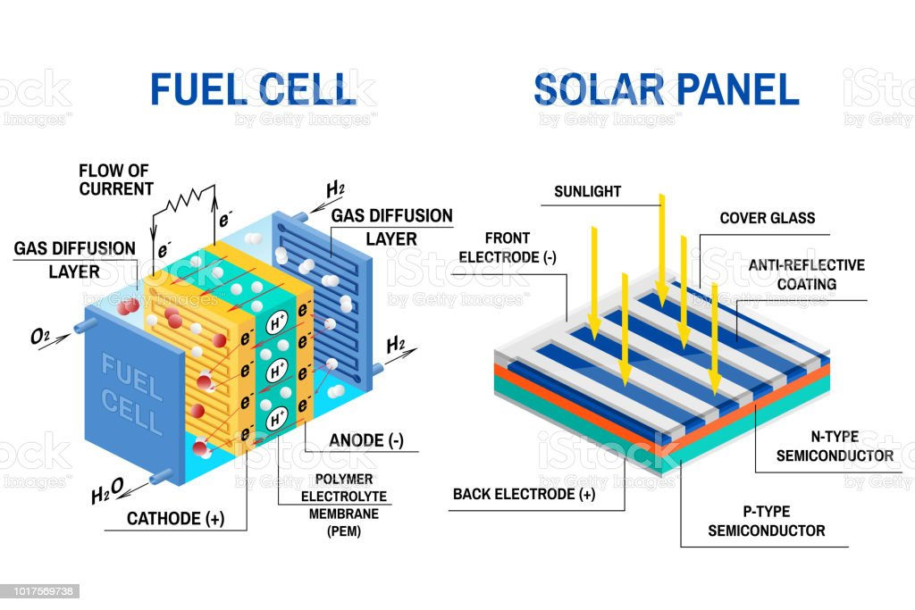 Process Of Converting Light To Electricity And Fuel Cell Diagram