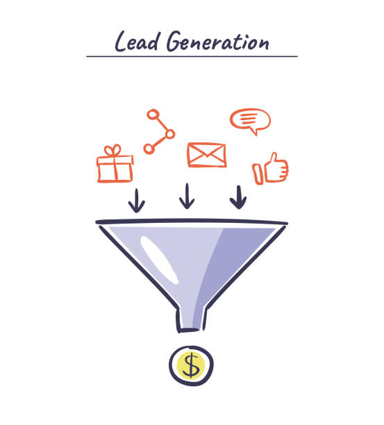 Process of leads production in sales funnel. Online marketing hand drawn illustration. Lead generation vector concept. Lead generation vector concept. Process of leads production in sales funnel. Online marketing hand drawn illustration. origins stock illustrations
