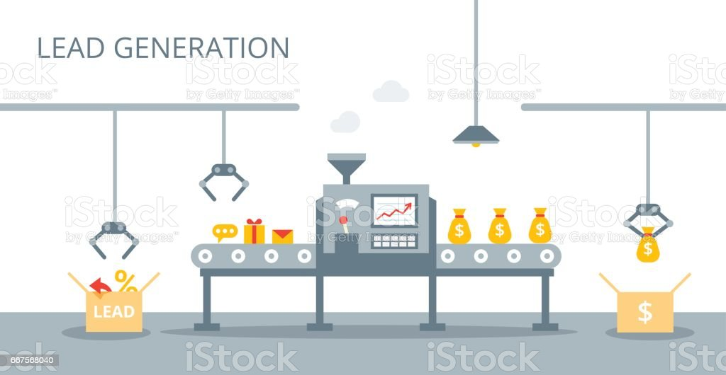 Process of leads production on the conveyor belt. Marketing concept in flat style. Lead generation vector concept.