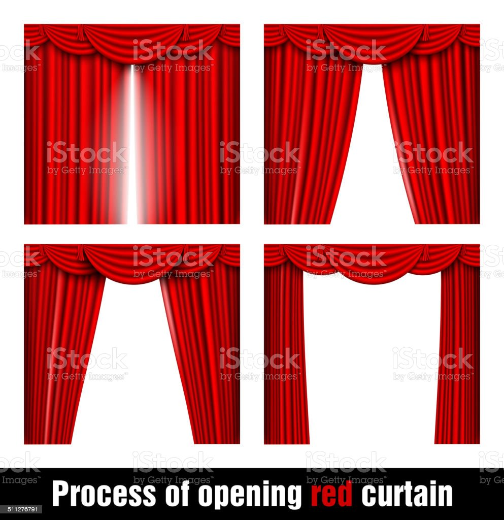 process of opening red curtain vector art illustration