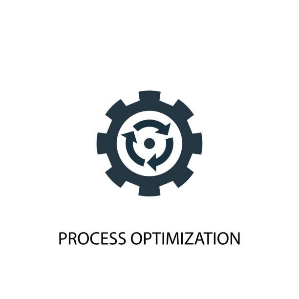 illustrazioni stock, clip art, cartoni animati e icone di tendenza di process optimization icon. simple element illustration. process optimization concept symbol design. can be used for web and mobile. - efficacia