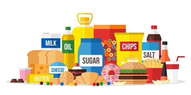 verarbeitete speisen - ungesunde ernährung stock-grafiken, -clipart, -cartoons und -symbole