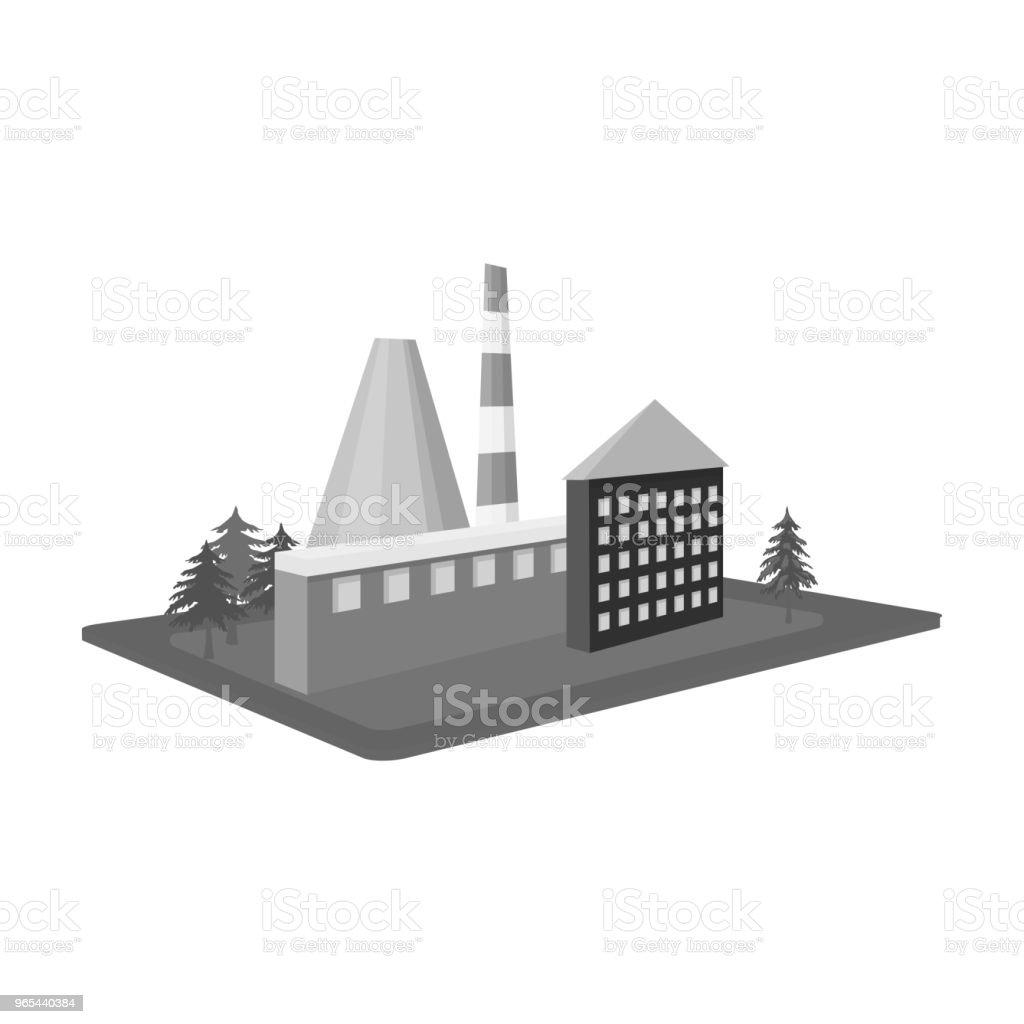 처리 공장입니다. 흑백 스타일 아이소메트릭 벡터 기호 재고 일러스트 웹에서 단일 아이콘 공장 및 산업 - 로열티 프리 건축물 벡터 아트