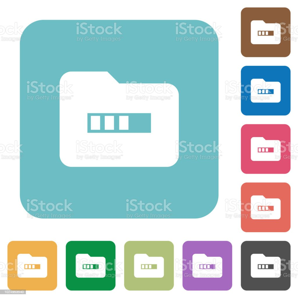 Processing folder rounded square flat icons vector art illustration