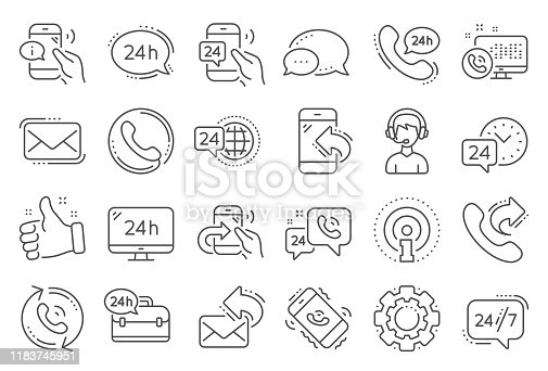 Processing line icons. Set of Callback or feedback, Call support and Chat message icons. 24 hour service, Call centre, 24/7. Telephone callback, support message, feedback phone center. Vector