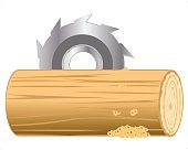 Industrial processing log by disc saw.Vector illustration
