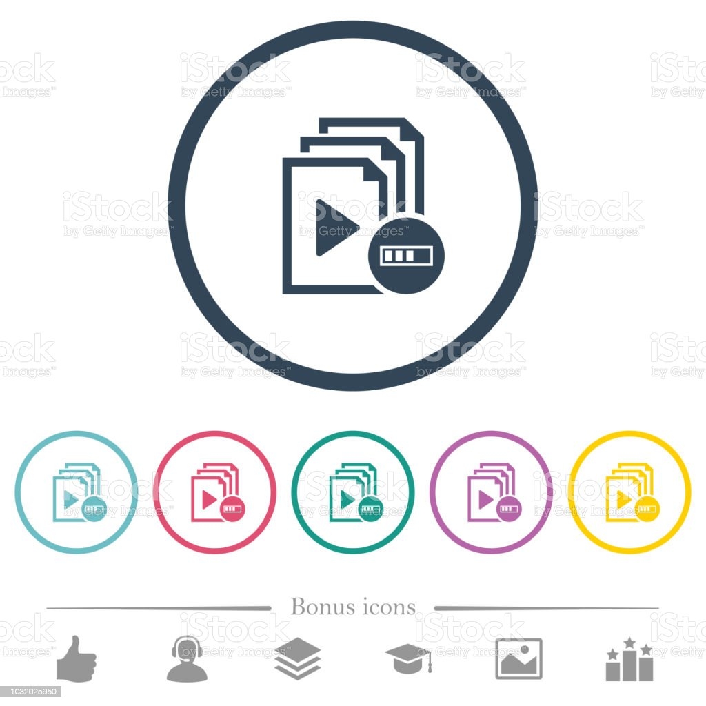 Processing playlist flat color icons in round outlines vector art illustration