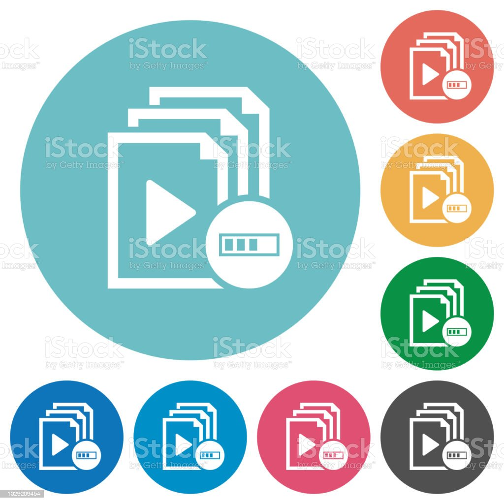 Processing playlist flat round icons vector art illustration